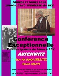 Affiche BG-Conférence Daniel URBEJTEL -1ères 27 Mars2018 AUSCHWITZ